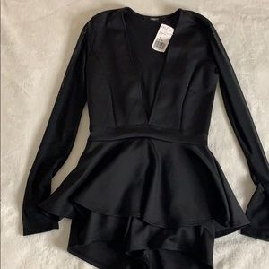 Black peplum bodysuit